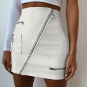 Lovely Casual Zipper Design White Mini A Line Skir