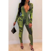 Lovely Sexy Deep V Neck Printed Green One-piece Ju