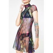 Lovely Sexy Turtleneck See-through Multicolor Mini