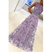 Lovely Stylish Gauze Patchwork Floral Printed Purp