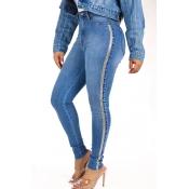 Lovely Stylish High Waist Patchwork Blue Jeans