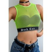 Lovely Casual See-through Mesh Green Tank Top