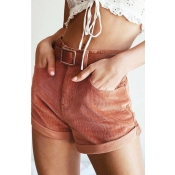 Lovely Casual Mid Waist Brick-red Shorts