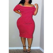 Lovely Casual Off The Shoulder Striped Red Knee Le