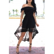 Lovely Chic Off The Shoulder Black Asymmetrical Mi