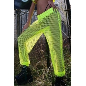 Lovely Trendy Hollow-out Fluorescent Yellow Pants