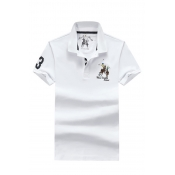 Lovely Casual Embroidered Design White Polo Shirts