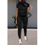 Lovely Casual Hooded Collar Broken Holes Black Two