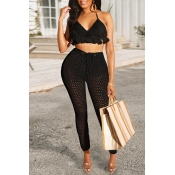 Lovely Halter Neck Hollow-out BlackTwo-piece Swimw