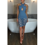 Lovely Sexy Halter Neck Hollow-out Blue Mini Prom