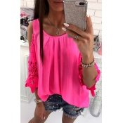 Lovely Casual O Neck Off The Shoulder Rose Red Blo