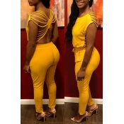 Lovely Sexy O Neck Hollow-out Yellow One-piece Jum