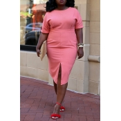 Lovely Stylish O Neck Split Pink Knee Length Plus