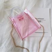 Lovely Stylish See-through Light Pink Pvc Messenge