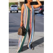 Lovely Casual V Neck Striped Multicolor Loose One-