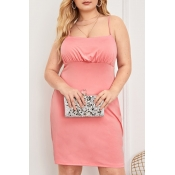 Lovely Casual Spaghetti Straps Pink Knee Length Pl