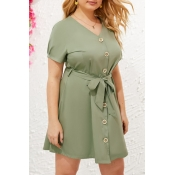 Lovely Casual V Neck Buttons Design Green Mini Plu