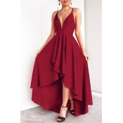 Lovely Casual Asymmetrical Wine Red Floor Length P
