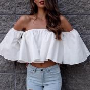 Lovely Stylish Off The Shoulder White Blouse