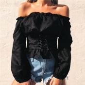 Lovely Stylish Off The Shoulder Lace-up Black Blou