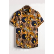 Lovely Casual Short Sleeve Printed Multicolor Shir