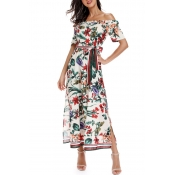 Lovely Bohemian Off The Shoulder Floral Printed Wh
