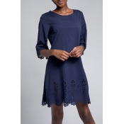 Lovely Casual O Neck Hollow-out Navy Knee Length O