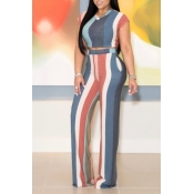 Lovely Leisure Striped Printed Grey Two-piece Pants Set