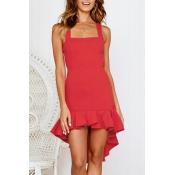 Lovely Bohemian Square Collar Spaghetti Straps Ruffle Red Mini Dress