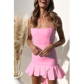 Lovely Bohemian Square Collar Spaghetti Straps Ruffle Light Pink Mini Dress