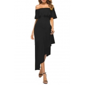 Lovely Casual Off The Shoulder Asymmetrical Black