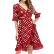 Lovely Sweet V Neck Dot Printed Ruffle Asymmetrical Wine Red Mini Dress