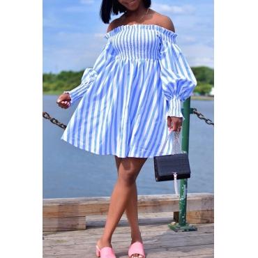 Lovely Sweet Off The Shoulder Striped Blue Mini A Line Dress