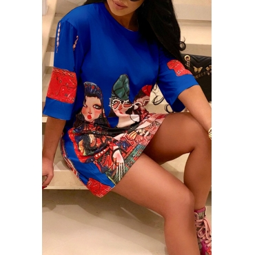Lovely Casual O Neck Printed Blue Mini Dress