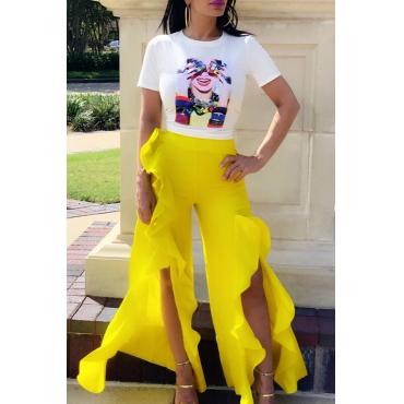 Lovely Stylish O Neck Printed Ruffle Design Yellow Two-piece Pants Set