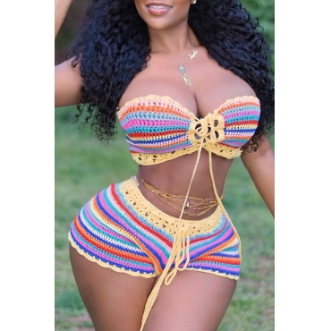 Lovely Striped Patchwork Lace-up Multicolor Two-piece Swimwear