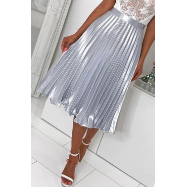 Lovely Sweet Drape Design Silver Mid Calf A Line Skirt