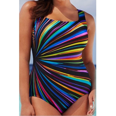Lovely Striped Printed Backless Multicolor One-piece Swimwear