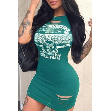 Lovely Casual Printed Hollow-out Black-green Mini Dress
