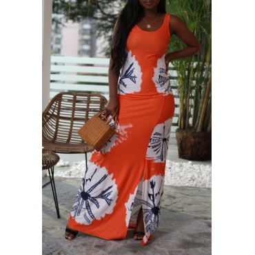 Lovely Bohemian Printed Hollow-out Orange Floor Length Dress