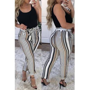 Lovely Stylish High Elastic Striped Lace-up Multicolor Pants