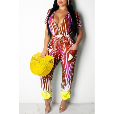 Lovely Work Hooded Collar Printed Red One-piece Jumpsuit