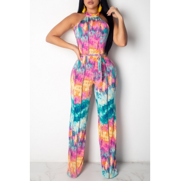 Lovely Stylish Halter Neck Printed Lace-up Multicolor One-piece Jumpsuit