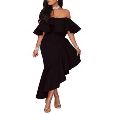 Lovely Stylish One Shoulder Ruffle Design Asymmetrical Black Ankle Length Dress