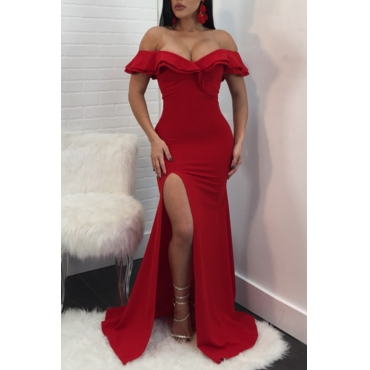 Lovely Sexy Off The Shoulder Side Split Red Trailing Dress