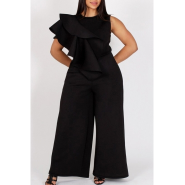 Lovely Stylish O Neck Ruffle Design Black One-piece Jumpsuit