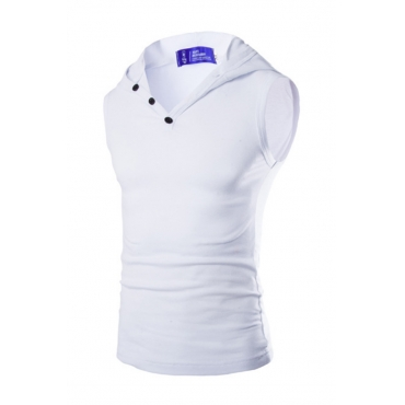 Lovely Casual Hooded Collar White Cotton Vest