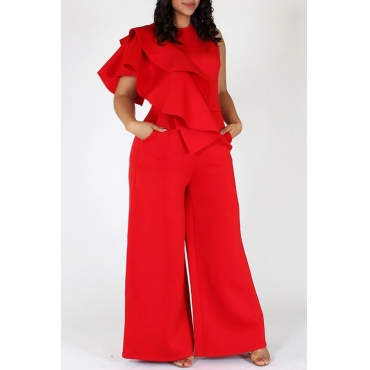 Lovely Stylish O Neck Ruffle Design Red One-piece Jumpsuit