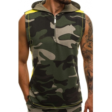 Lovely Casual Hooded Collar Camouflage Printed Army Green Vest