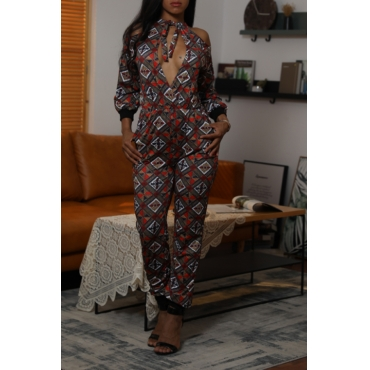 Lovely Casual Printed Hollow-out Coffee One-piece Jumpsuit